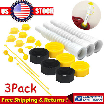 3Pack for EZ Pour Replacement Spout Replace Old Gas Can Fill Kit Fuel Jug (21pc)