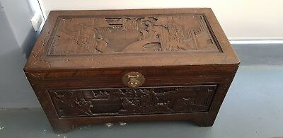Ornate Oriental Camphor chest made in Hong Kong