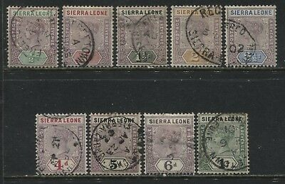 Sierra Leone QV 1896 various values to 1/ used