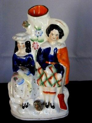 Mid 19th C Staffordshire Spill Vase of a Hunter and His Wife