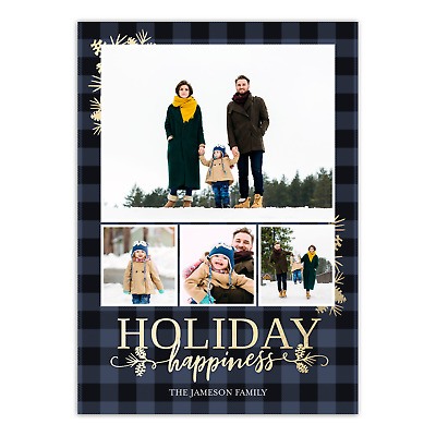 Personalized Holiday Photo Card - Rustic Plaid