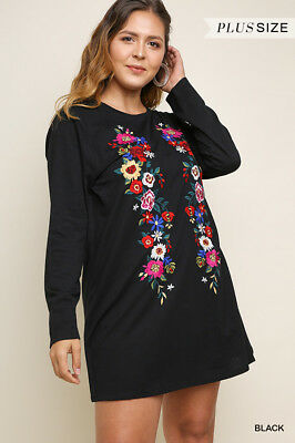 2640a55009c68 NWT Plus Size XL 1X 2X Umgee Long Sleeve Black Floral Embroidered Dress  Tunic