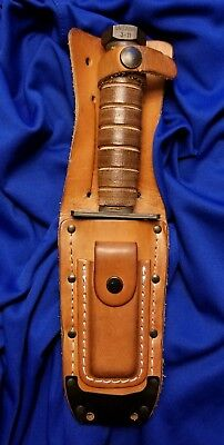 Vintage Ontario Ny Pilot's Survival Knife With Leather Sheath  3-11