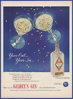 Vintage 1951 GILBEY'S Gin Alcohol Liquor New Year's Decor Ephemera Print Ad 50's