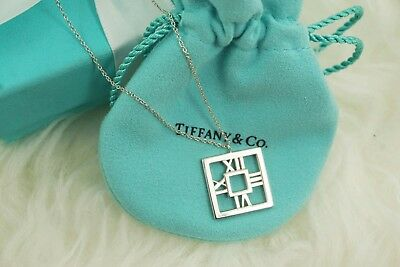 "AUTHENTIC Tiffany & Co. Sterling Silver Square Atlas Necklace 16 1/2"" (#1160)"