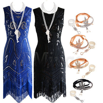 1920's Dresses Gatsby Charleston Sequin Beaded Dress Flapper Fringe 20's Costume