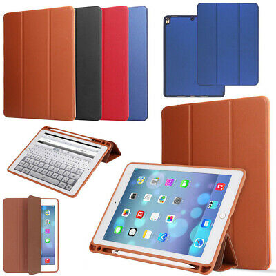 """For iPad 9.7"""" 2018(6th Generation) Smart Cover Leather TPU Case With Pencil Slot"""