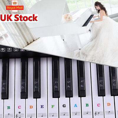Transparent 54 Music Keyboard Key Note Labels 54 61 88 Keys Piano Stickers WF