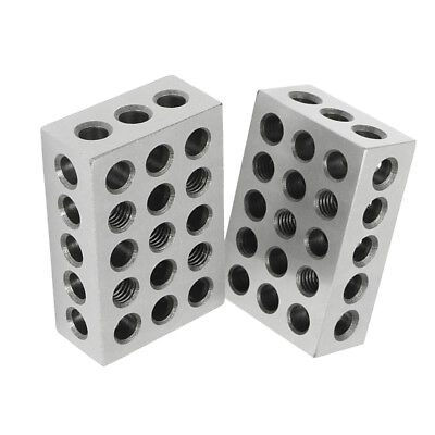 "Pair 0.0003"" Precision 1-2-3 Blocks 23 Holes, Carbon Steel, Rust-Resistant"
