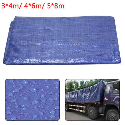 3 Sizes of Heavy Duty Tarpaulin Blue Waterproof Strong Cover Ground Sheet Tarp