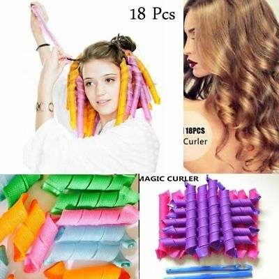 18Pcs Long Hair Curlers Curl Formers Leverage Rollers Spiral Ringlets