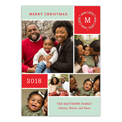 Personalized Holiday Photo Card - Family Wreath