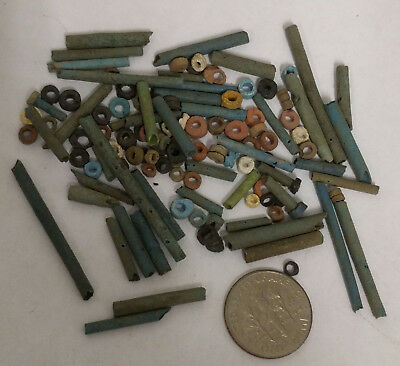 More than a Hundred 2500 Year old Ancient Egyptian Faience Mummy Beads (K1519)