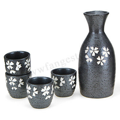 5x Japanese Matt Black Ceramic Sake Set Wine Bottle Cups Handmade Porcelain Gift