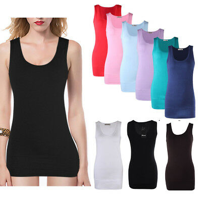 NEW Women Sleeveless Vest Top Dress Long Section Stretch Solid Cami Tank T-Shirt