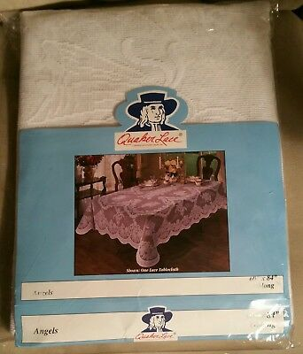 """NEW Quaker Lace Tablecloth 60"""" x 84"""" Oblong Angel Pattern  Made In USA"""