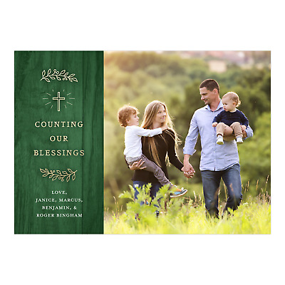 Personalized Holiday Photo Card - Simple Cross