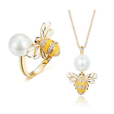2018 Santa 925 Silver Luxury Pearl Gold Honey Bee Ring Necklace Jewelry Set Xmas