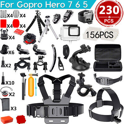 230PCS Accessories Pack Case Chest Head Floating Monopod GoPro Hero 7 6 5 4 3+ 2
