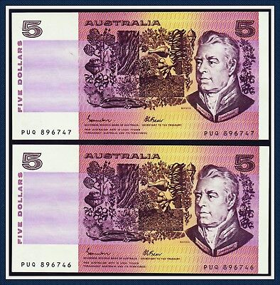 Consecutive Pair of $5 Paper Banknotes Johnston/Fraser  1985  OCR-B R-209a