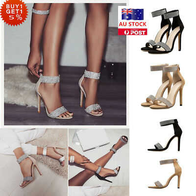 Women Ladies High Heel Ankle Strappy Point Toe Sandals Casual Party Pump Shoes