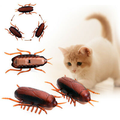 Funny Electronic Cockroach Pet Cat Puppy Kitten Interactive Training Play Toy W