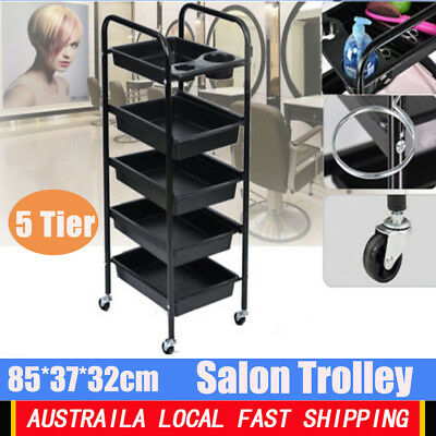 5 Tiers Salon Spa Hairdresser Trolley Equipment Rolling Storage Tray Cart