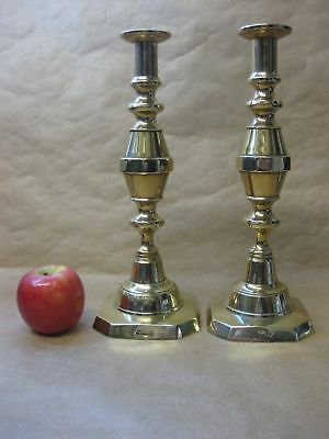 """""""THE 1901"""" ~ Pair of Antique Victorian Brass Candlesticks ~ 11 1/2 Inches Tall"""