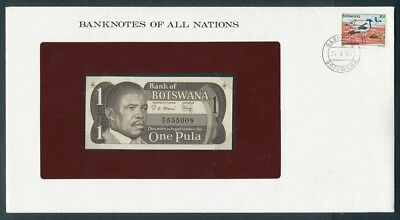 Botswana: 1983 1 Pula Banknote & Stamp Cover, Banknotes Of All Nations Series