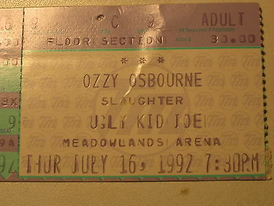 vintage Ticket Concert Ozzy Osbourne July 16 1992 Slaughter Ugly Kid New Jersey