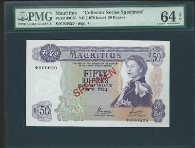 Nd (1978)  Mauritius Specimen 50 Rupees S/n *000620 Pick# 33Cs1 Please Lqqk!!*
