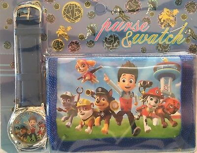 PAW PATROL Chase,Marshall,Skye,Ryder Watch and Wallet Set - Great Xmas Present