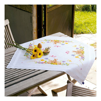 Embroidery Kit Tablecloth Rabbits Design Stitched on Cotton Fabric   80 x 80cm