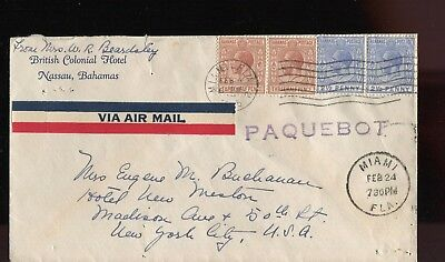 Bahamas KGV 1935 paquebot cover used with Miami cancels