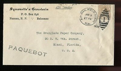 Bahamas KGV 1934 paquebot cover with Miami Air Mail Field duplex cancel