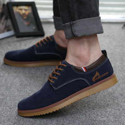 Men's Suede Leather Shoes Breathable Formal Oxfords Casual Outdoor Skate Sneaker