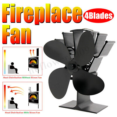 8.8in 4 Blades High Heat Self-Powered Wood Stove Fan Log Quiet Burner Fireplace