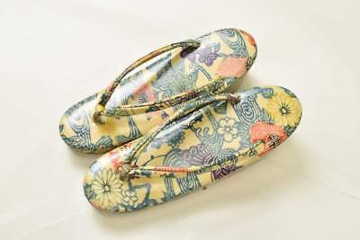 Vintage Japanese Geisha Yellow Floral Wedge Zori/Toe Post Sandals 23cm (UK 3-4)