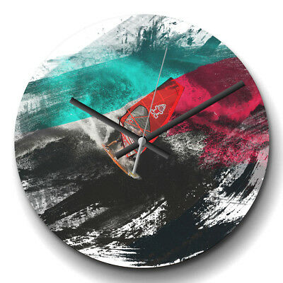 Large Wall Clock Silent 32cm Modern Abstract Home Decor Wind Surfing V2 Sport