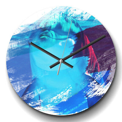 Large Wall Clock Silent 32cm Modern Abstract Home Decor Dolphin (3) V2 Animal