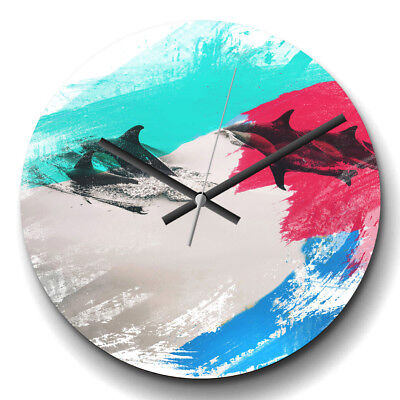 Large Wall Clock Silent 32cm Modern Home Decor Swimming Dolphins 2 V2 Animal