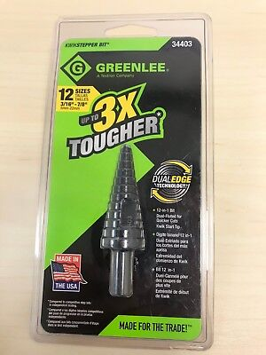 "34403 Greenlee Step Drill Bit 12 Sizes 3/16"" - 7/8"" (New)"