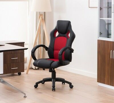 Racing Style Home Office Gaming Chair Black Red Faux Leather Castors Gas Lift