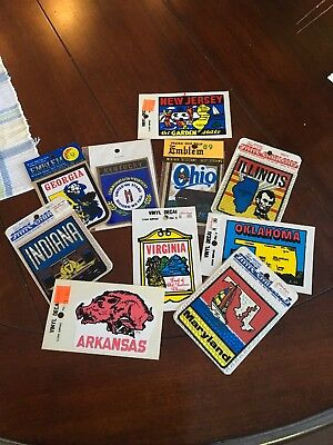 Lot Of 10 Vintage State Decal Stickers In New Unopened Packages