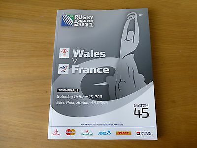 2011 Rugby World Cup programme semi-final Wales v France match 45