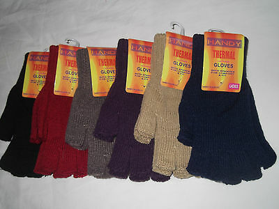 Ladies Thermal Fingerless  Winter Gloves  One Size Fits All Black Red Purple