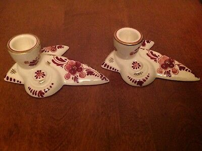 Set Of (2) Regina Red Rood Delft Holland Candle Holders--Unique!!! Reduced!!!!
