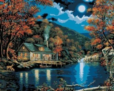 Plaid Creates Paint by Number Kit (16 by 20Inch), 21690 Lakeside Cabin