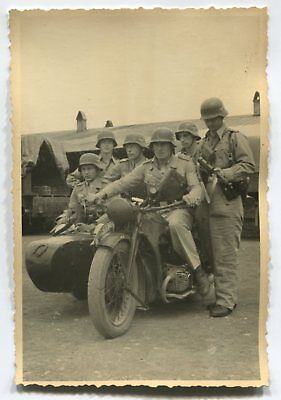 German Wwii Photo From Archive: Airborne Fallschirmjäger Soldiers On Motorcycle