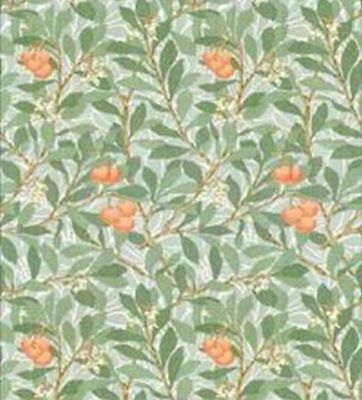 Dollhouse Miniature 1:12 Wallpaper - Leaves and Fruit - Orange and Green